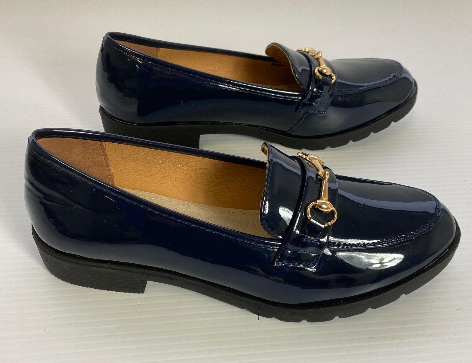 Ladies Black Patient Leather Shoes by La Bottine Souriante Size 7 UK EU 40