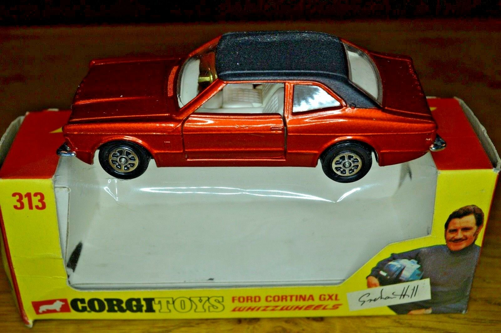 Vintage Corgi No. 313 Ford Cortina GXL; Original Graham Hill Box