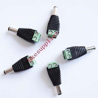 5 PCS 2.1mm x 5.5mm Male DC Plug Removable Terminal Block Adapter