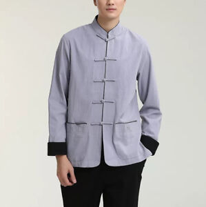 New-Chinese-Oriental-Mens-Kung-Fu-Contrary-Grey-and-Black-Top-Long-Shirt-cmssh23