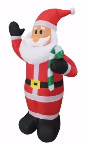 4 Foot Christmas Air Blown Inflatable Santa with Candy Cane Yard Decoration