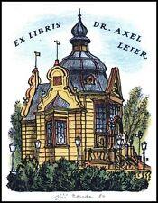 Bouda Jiri 1980 Exlibris L1 Bookplate Architecture Prague Dr Axel Leier s149