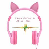 Iclever Pink Cat Ear Volume Limiting For Kids Girls Headsets Wired Headphones