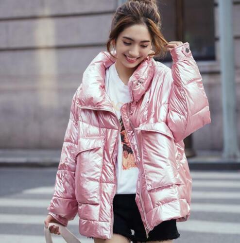 New Fashion Womens Shiny Down Jacket Thicken Warm Puffer Winter Overcoats Korean