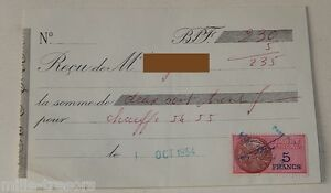 RECU-pour-CHAUFFE-54-55-du-1er-octobre-1954-TIMBRE-Fiscal-de-5-FRANCS