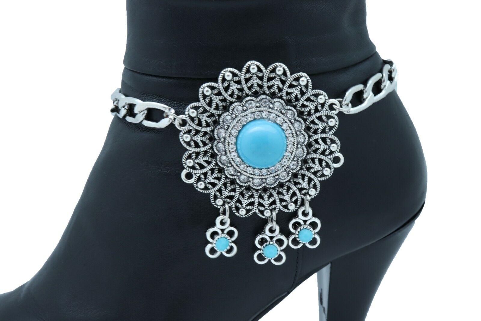 Women Silver Boot Chain Bracelet Shoe Vintage Style Turquoise Blue Flower Charm