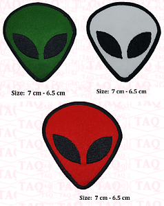 UFO Alien Green  Face Flying Saucer Roswell Area 51 Space embroidered patch