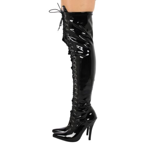 NEW LADIES BOOTS WOMENS THIGH HIGH OVER THE KNEE BOOTS FRONT LACE HEEL SIZE 3-12