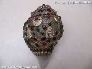 4-Tibet-crystal-Silver-handwork-inlay-ruby-amp-gemstone-beryl-Buddha-Statue-Conch