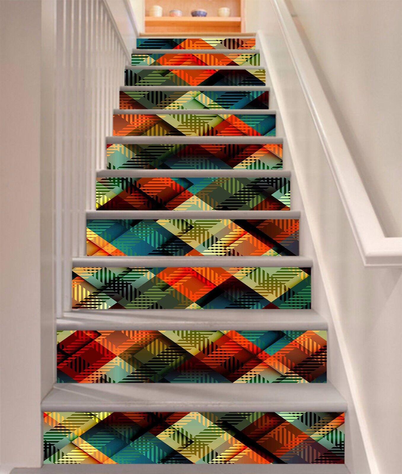 3D color Lattice Painting Risers Decoration Photo Mural Vinyl Decal Wallpaper CA
