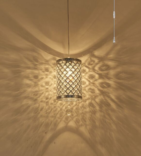 Surpars House Plug In Pendant Light Silver Crystal Chandelier With 17 Cord And