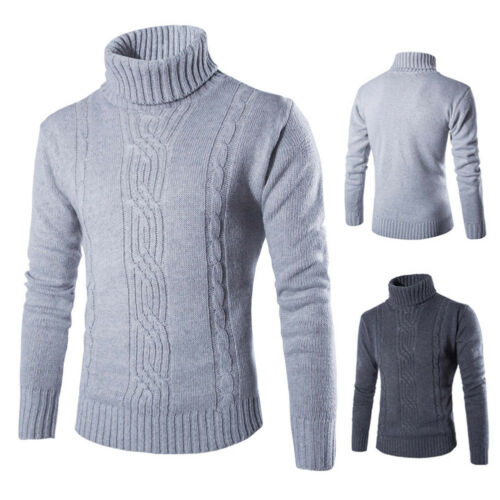 Men/'s British Sweater Winter Thick Knitted Pullover Turtleneck Casual Knitwear