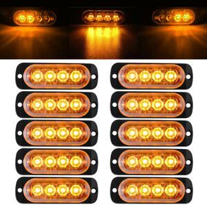 10x-Amber-4LED-Car-Truck-Emergency-Beacon-Warning-Hazard-Flash-Strobe-Light-Bar