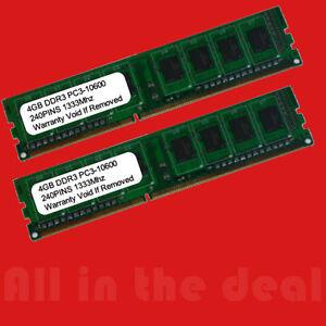 8GB 2x 4GB DDR3 1333MHz PC3-10600 DESKTOP Memory Non ECC 1333 Low Density RAM 8G