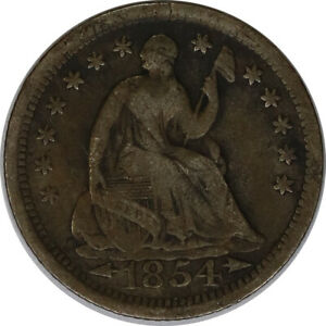 1854 H10C Silver Seated Liberty Half Dime with Arrows Circulated Raw US Coin