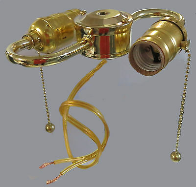 Pre-wired 2-lite PULL-CHAIN s-arm BRASS-PLATED s-arm w// standard-based sockets