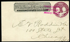 Cover - Wells Fargo - Unknown to Chicago IL 1890s - FRONT ONLY U349 - S6873