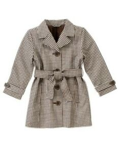 GYMBOREE-COWGIRLS-AT-HEART-BROWN-GINGHAM-TRENCH-COAT-3-4-5-6-7-8-NWT