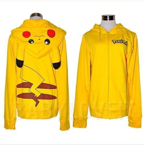 New Japan Pikachu Ear Face Tail Zip Hoody Hoodie Costume Sweatshirt Free Ship