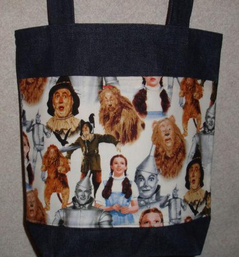 New Medium Denim Tote Bag Handmade with Wizard of Oz Characters Fabric