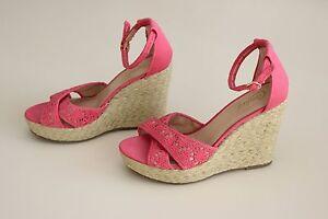 CANDIES-SEYMONE-Women-039-s-Sz-10-Wedge-Platform-Sandal-Shoes-Espadrilles-Coral-Lace