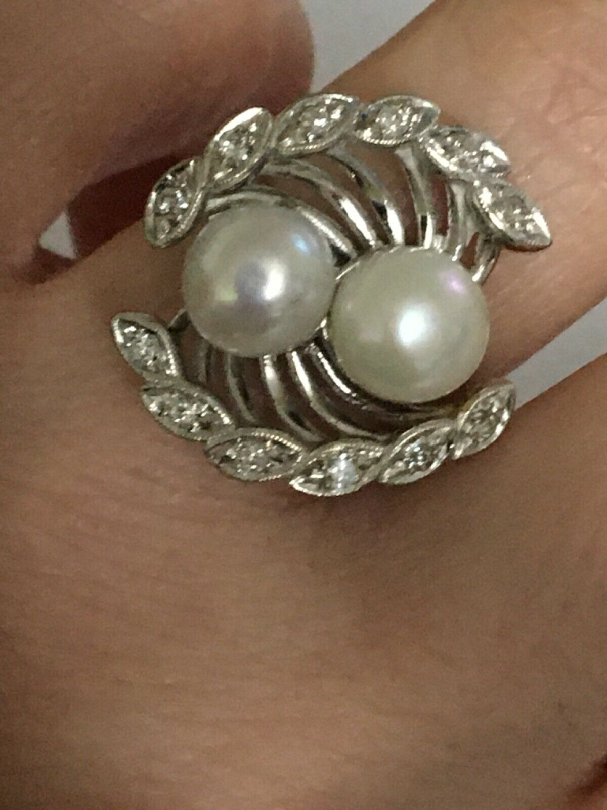 Vintage pearl and diamond Ring, Pearl and Diamond… - image 8