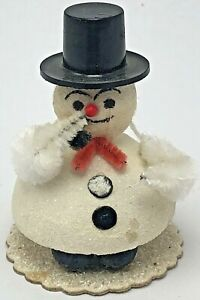 Vintage-Christmas-Ornament-Snowman-Putz-Mica-Spun-Cotton-Top-Hat-Pipe-Chenille