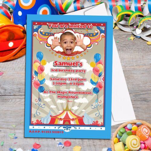 Carnaval Cirque Personnalisé Ballons Fête D/'anniversaire Photo invitations ~ N90