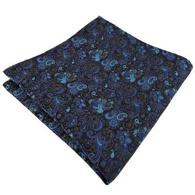schönes Einstecktuch türkis ozeanblau schwarz grau paisley - Tuch 100% Polyester