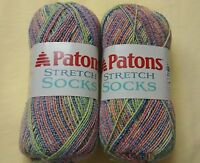 Lot/2 Patons Stretch Sock Yarn Fruit Slices Green Yellow Pink Blue Purple Discon