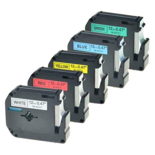 5x 12mm Etikettenband für Brother MK M-K231 431 531 631 731 PT-45M 65 70 80 100