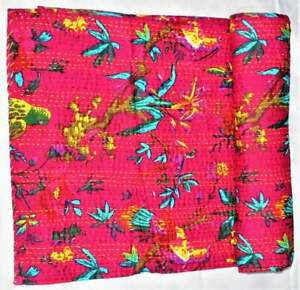 Indien-Kantha-Baby-Quilt-Blanket-Cotton-Throw-Bedspread-Coverlet-Bedcover