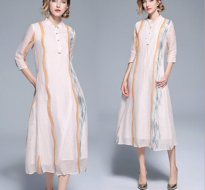 Women 2018 Retro Elegant 3 4 Sleeves Striped Casual Slim Fit A-line Long Dress