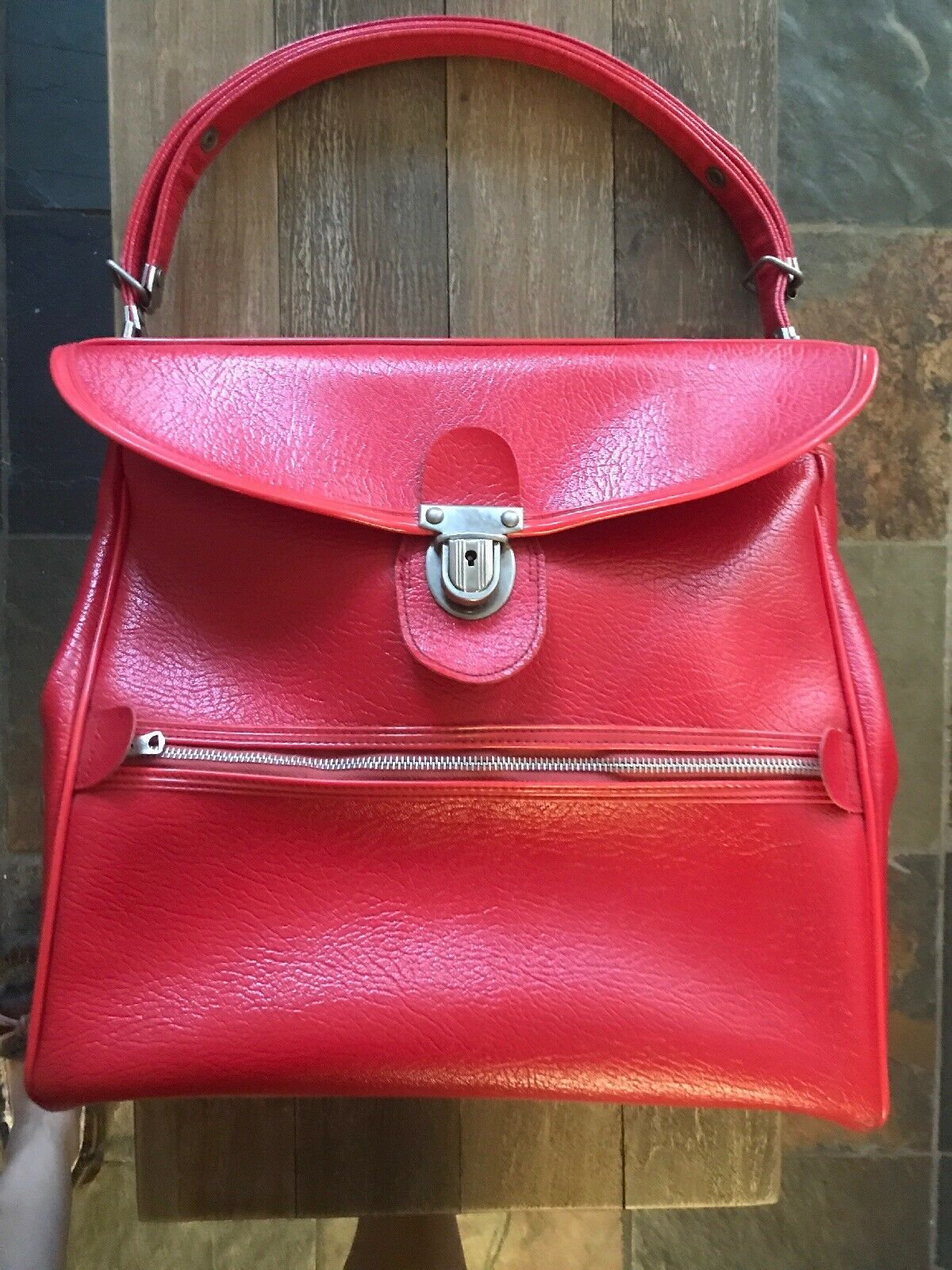 Vintage Amelia Earhart rosso Tote Carry On PO