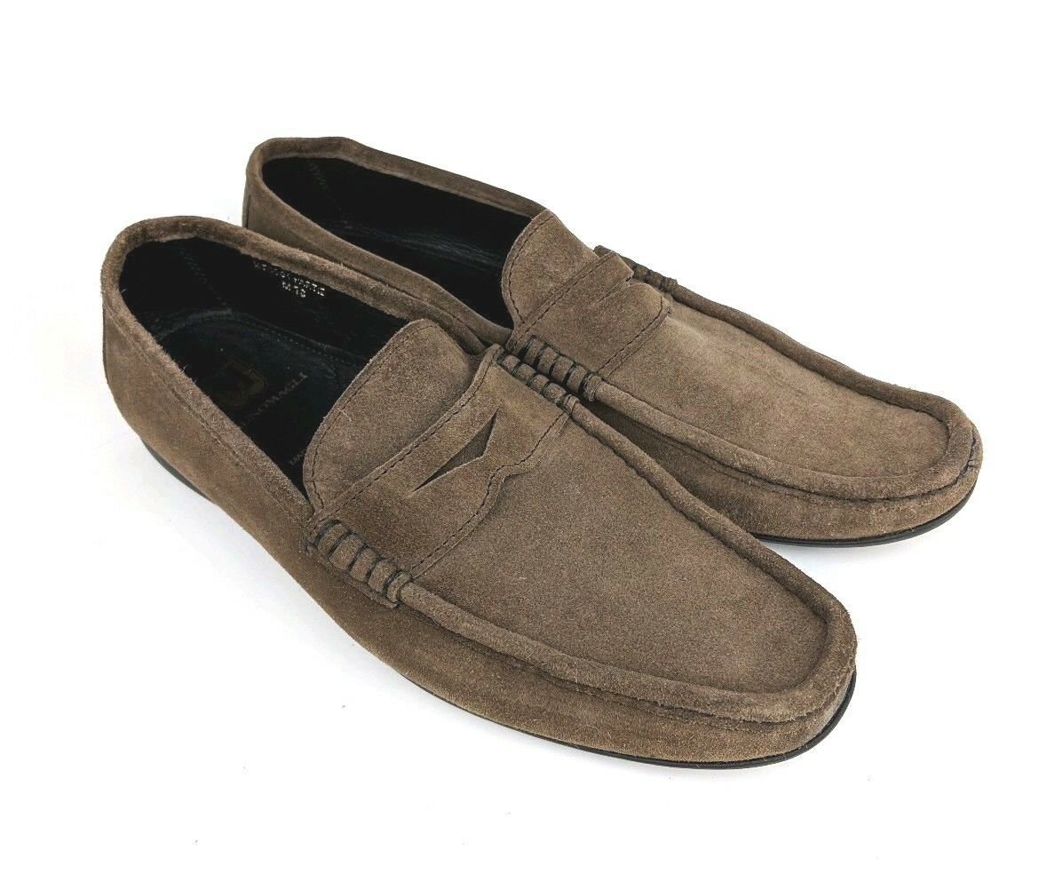 Men's Bruno Magli Brown   Taupe Suede Driving Slip On Penny Loafers Casual 10 M