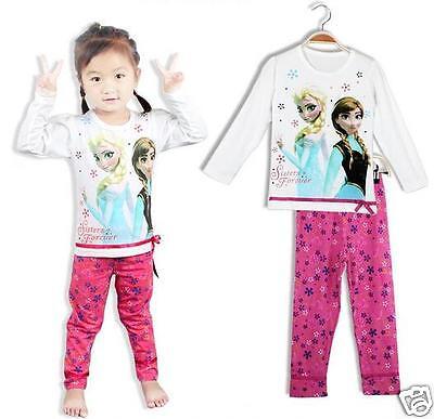 Frozen PJ/'S Pyjamas Pink  Girls set Kids  Elsa Anna UK SELLER christmas