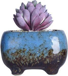 Ceramic Bonsai Pot with Drainage Rectangular Flower Plant, 4.8x3.4x3 inch, Blue