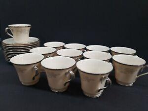 Lenox-Snow-Lily-China-Tea-Cup-and-Saucer-12-Set-Floral-Platinum-Trim-USA