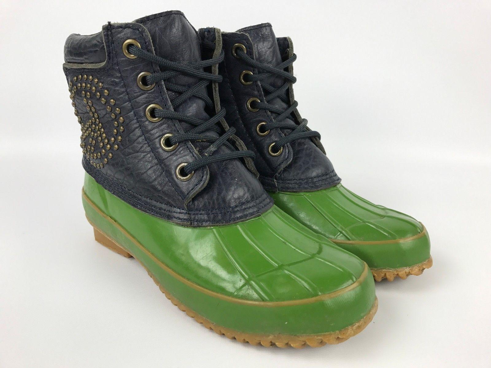 Lucky Brand Daria Navy bleu vert Studded Rain Snow bottes femmes 6 NEW IN BOX