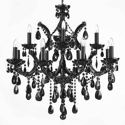 13 LIGHT BLACK MARIA THERESA CRYSTAL CHANDELIER DINING LIVING ROOM FOYER KITCHEN