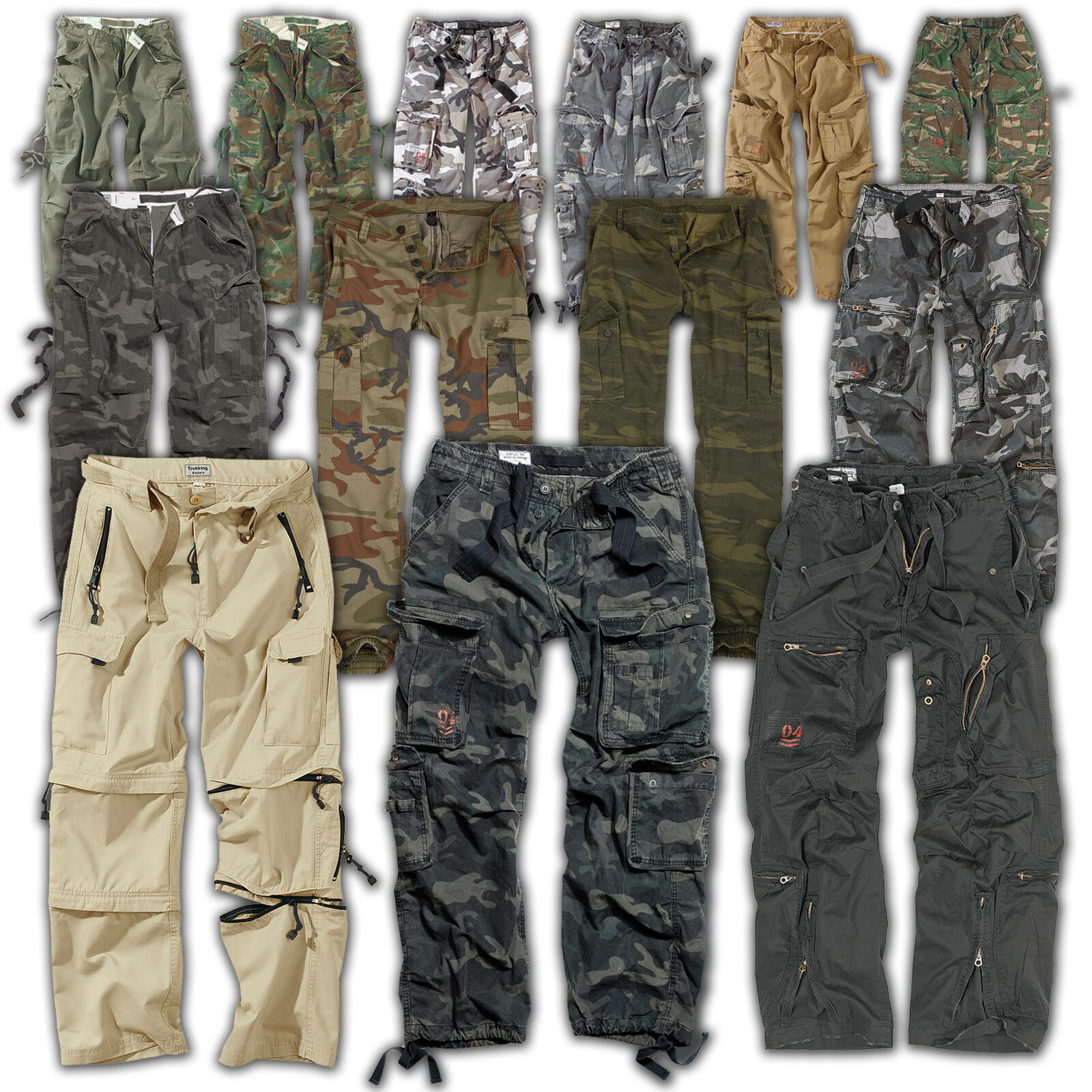 SURPLUS™ Raw Vintage  AIRBORNE  FATIGUES  TREKKING Cargo Hose US Military Pants