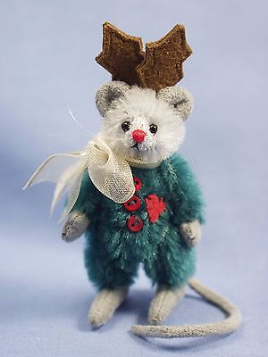 "DEB CANHAM ""PRANCER MINI MICE""  MOHAIR MOUSE WITH ANTLERS/RED NOSE- 2 3/4"" TALL"