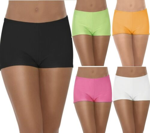 Ladies Black White Orange Green Pink Hot Pants Shorts Fancy Dress Dance Rave