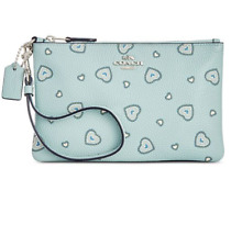 Coach Western Heart Light Turquoise Blue Small Wristlet 29667