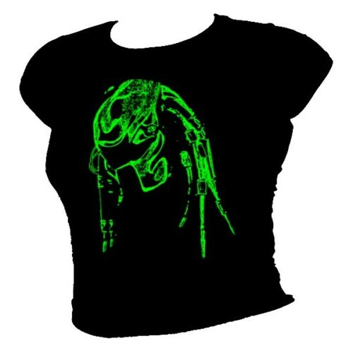 PREDATOR HEAD  /'Welcome to the Jungle/' movie film  t shirt Fluo GREEN
