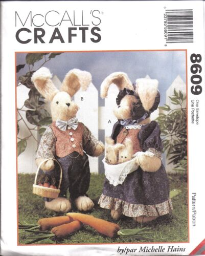"""8609 UNCUT Vintage McCalls Sewing Pattern 18/"""" Bunnies and Clothes Easter OOP NEW"""
