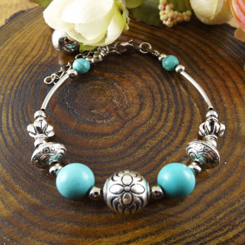 Fashion Silver Bracelet Free Shipping Jewelry turquoise Bead Bracelet Gift S270D