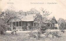 KOLDING DENMARK DANEMARK RESTAURATIONEN ALPEDALEN POSTCARD c1908 NOTE BICYCLE