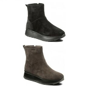 GEOX STIVALETTO DONNA GENDRY C D745TC 00022 SUEDE DK GREY E BLACK CASUAL