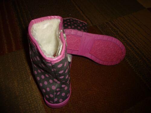 Sanrio Hello Kitty Baby Toddler Girl Zip Winter Boots Shoes Gray Pink Polka Dot